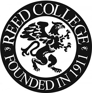Reed College black and white seal with mascot the griffen, founded 1911.