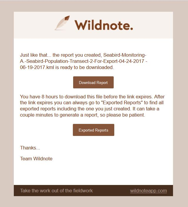 Screen shot of Wildnote Email indicating that the KML file is ready.