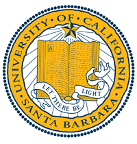 UC Santa Barbara yellow and black seal of open book and radiant star, with words Let there by Light.