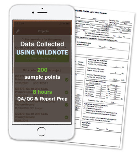 Iphone and wetland data form as backdrop to text showing data collected using Wildnote of 8 hours QA-QC and report preparation for 200 sample points.